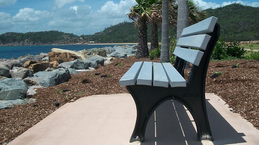 public seats made of recycled plastic